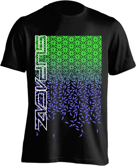 Supacaz T-shirt Star Fade - Sort/Grøn/Lilla