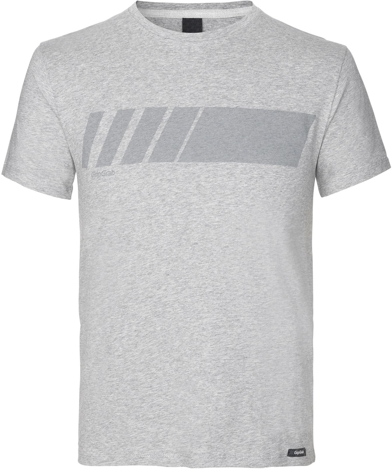 GripGrab Racing Stripe Kortærmet Økologisk Bomulds-T-shirt - Grå