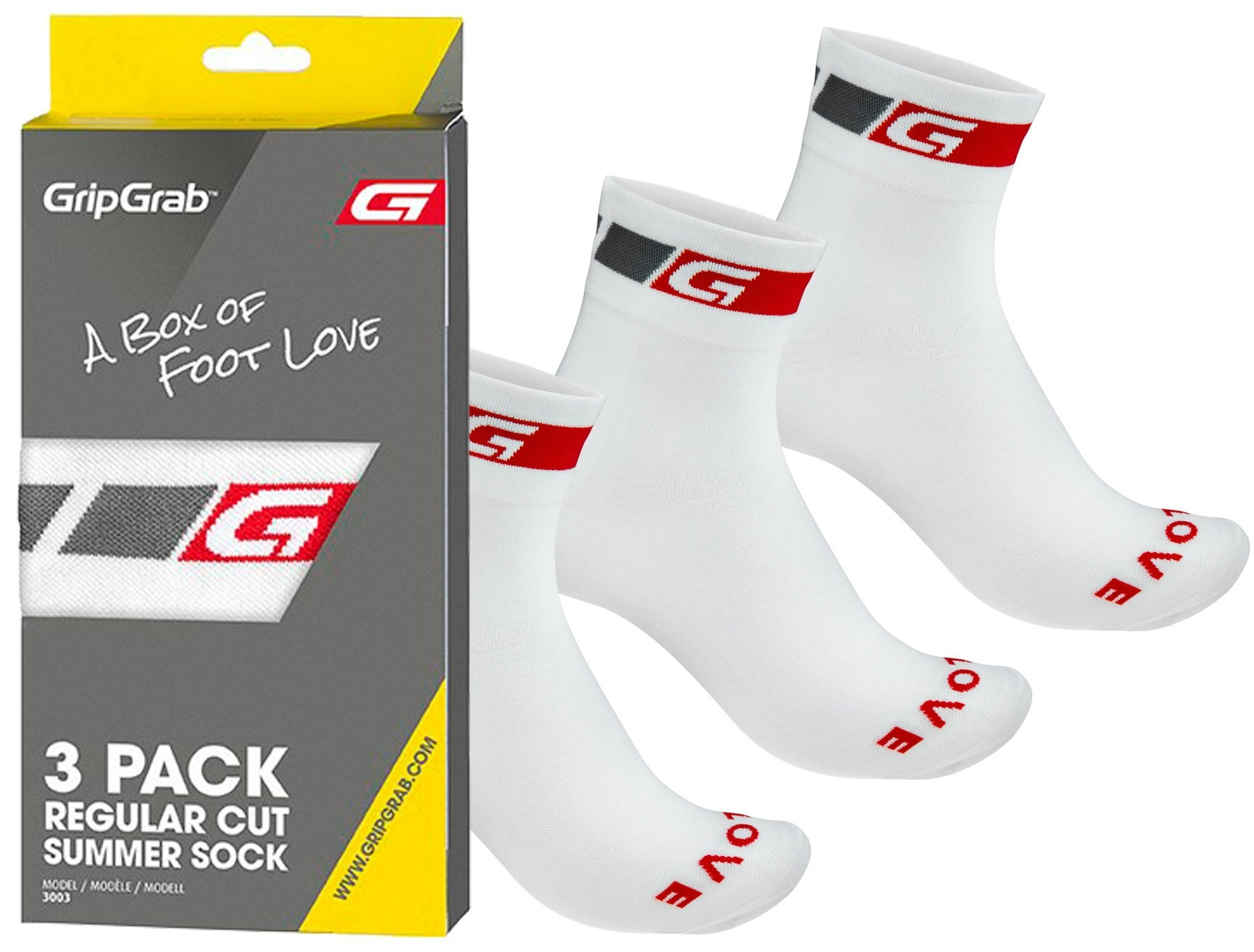 GripGrab 3-Pack Regular Cut Summer Sock, hvid