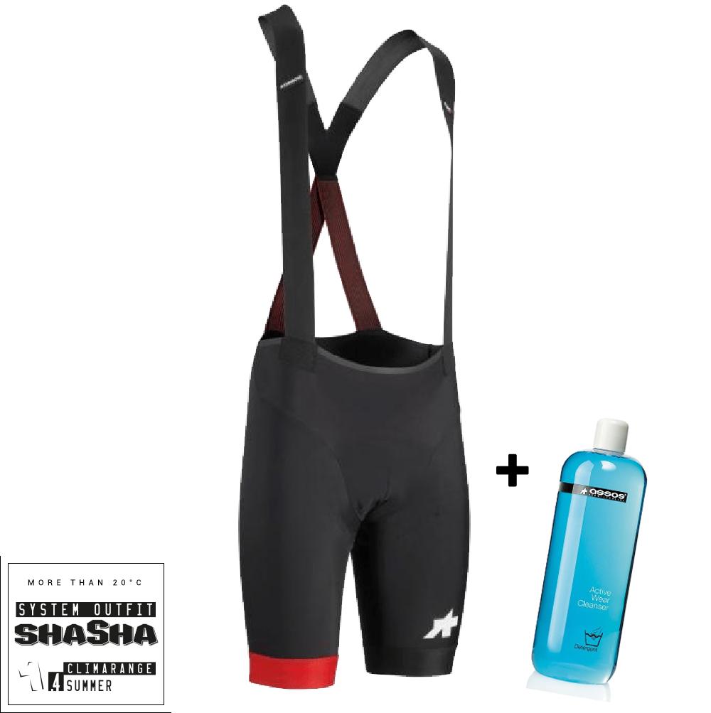 Assos Cykelbukser Equipe RS S9 Bibshorts - Sort/rød + 1L Active Wear