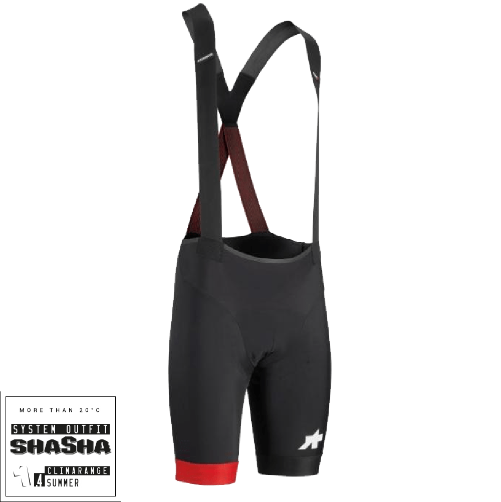 Assos Cykelbukser Equipe RS S9 Bibshorts - Sort/rød