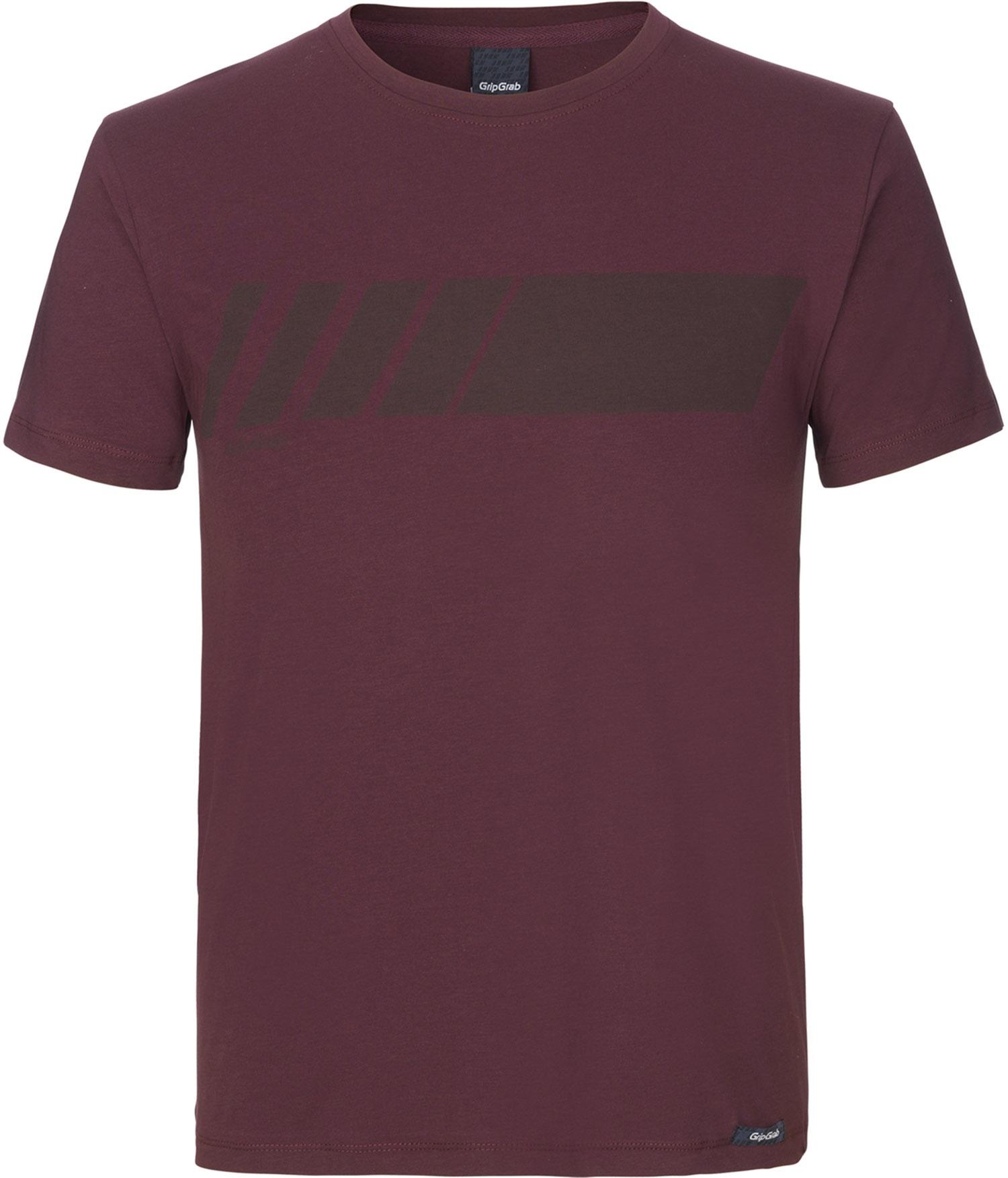 GripGrab Racing Stripe Kortærmet Økologisk Bomulds-T-shirt - Mørk Rød